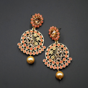 Fazla Peach & Gold Polki Stone Earrings - Gold