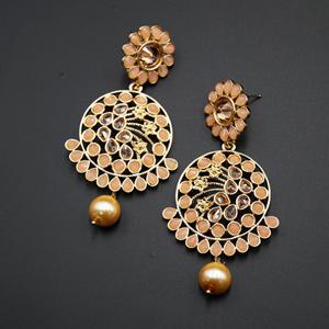 Fazla Light Peach & Gold Polki Stone Earrings - Gold