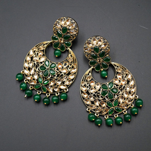 Jian Green & Gold Stone Earrings - Antique Gold