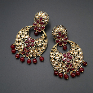 Jian Maroon & Gold Stone Earrings - Antique Gold