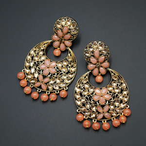 Jian Peach & Gold Stone Earrings - Antique Gold