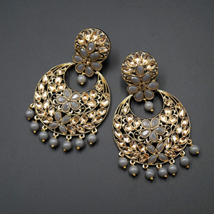 Jian Grey & Gold Stone Earrings - Antique Gold