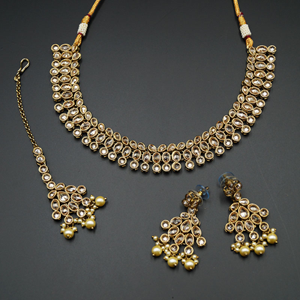 Raya Gold Polki Stone Necklace Set - Antique Gold