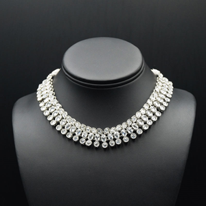 Raya White Polki Stone Necklace Set - Silver