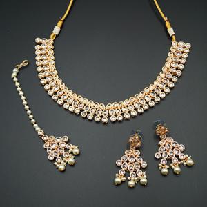 Raya White Polki Stone Necklace Set - Rose Gold