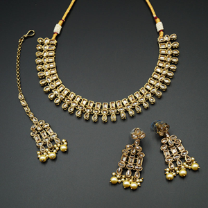 Mano Gold Polki Stone Necklace Set - Antique Gold