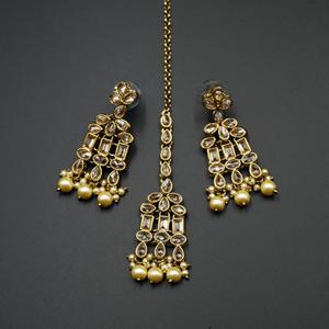 Mano Gold Polki Stone Necklace Set - Antique Gold