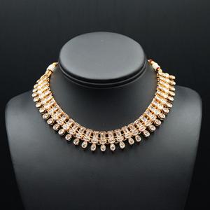 Mano White Polki Stone Necklace Set - Rose Gold