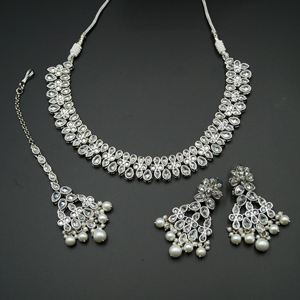 Tiaa White Polki Stone Necklace Set - Silver
