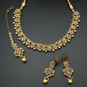 Kasu Gold Polki Stone Necklace Set - Antique Gold