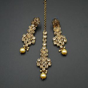Kasu Gold Polki Stone Necklace Set - Antique Gold