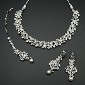 Kasu White Polki Stone Necklace Set - Silver