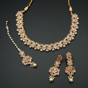 Kasu White Polki Stone Necklace Set - Rose Gold