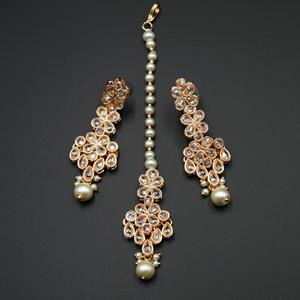 Kasu White Polki Stone Necklace Set - Rose Gold