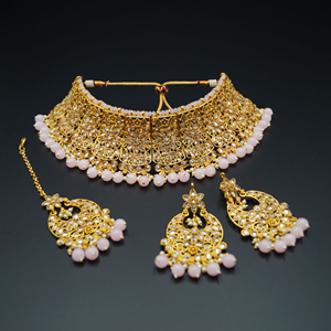 Saee Gold Polki Stone/Baby Pink Beads Choker Necklace Set - Gold