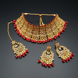 Saee Gold Polki Stone/Ruby Beads Choker Necklace Set - Gold