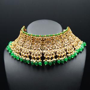 Saee Gold Polki Stone/Green Beads Choker Necklace Set - Gold
