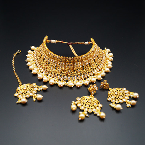 Vani Gold Polki Stone Choker Necklace Set - Gold