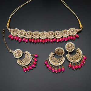 Rali Gold Polki Stone/Hot Pink Beads Choker Necklace Set - Antique Gold