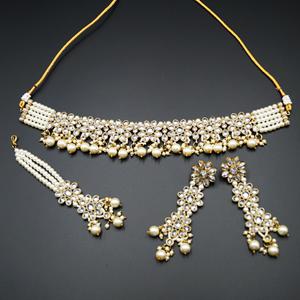 Dani White Polki Stone Choker Necklace Set - Antique Gold