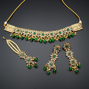 Dani Gold Polki Stone/Green Beads Choker Necklace Set - Antique Gold