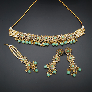 Dani Gold Polki Stone/Mint Beads Choker Necklace Set - Antique Gold