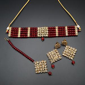 Icha Gold Polki Stone/Maroon Beads Choker Necklace Set - Antique Gold