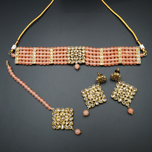 Icha Gold Polki Stone/Peach Beads Choker Necklace Set - Antique Gold