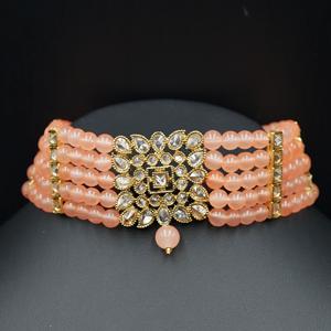 Icha Gold Polki Stone/Peach Beads Choker Necklace Set - Antique Gold