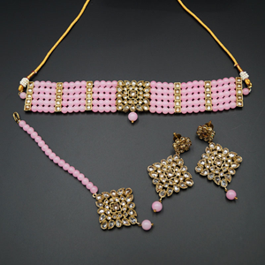 Icha Gold Polki Stone/Baby Pink Beads Choker Necklace Set - Antique Gold