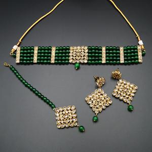 Icha Gold Polki Stone/Green Beads Choker Necklace Set - Antique Gold