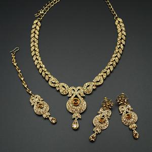 Reyi Gold Diamante Necklace Set - Gold