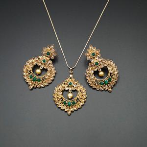 Leea Green Stone Pendant Set - Antique Gold