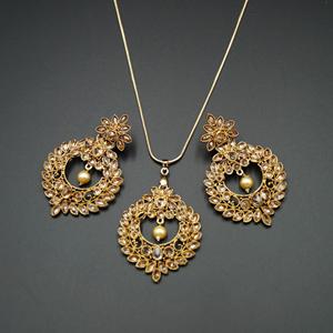 Leea Gold Stone Pendant Set - Antique Gold