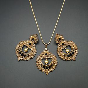 Leea Black Stone Pendant Set - Antique Gold