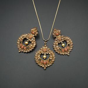 Leea Coral Stone Pendant Set - Antique Gold