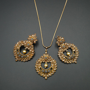 Leea Grey Stone Pendant Set - Antique Gold