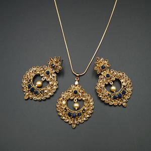 Leea Navy Blue Stone Pendant Set - Antique Gold