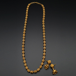Pria Long Mala Set - Antique Gold