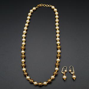 Neev Short Pearl Mala Set - Gold