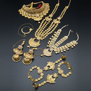 Jiaa Gold Polki Stone Bridal Set - Gold