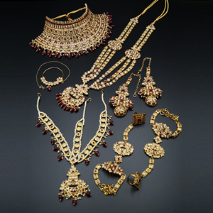 Meka Gold/Ruby Red Polki Stone Bridal Set - Antique Gold