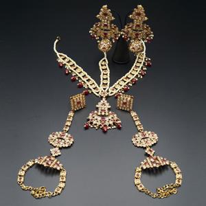 Meka Gold/Ruby Red Polki Stone Bridal Set - Antique Gold