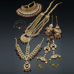 Nazo Gold/Ruby Red Polki Stone Bridal Set - Antique Gold