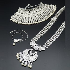 Tuya White Kundan Stone Bridal Set - Silver