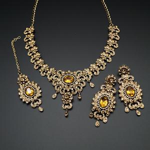 Lavo Gold Diamante Necklace Set - Antique Gold
