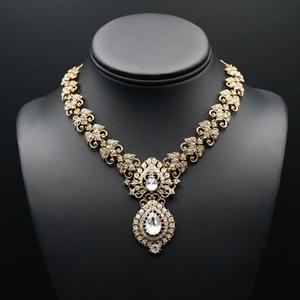 Ibhi White Diamante Necklace Set - Antique Gold