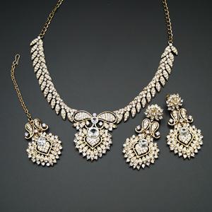 Gavi White Diamante Necklace Set - Antique Gold