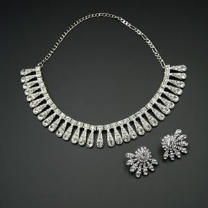 Zil White Diamante Necklace Set - Silver
