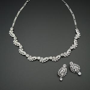 Baha White Diamante Necklace Set - Silver